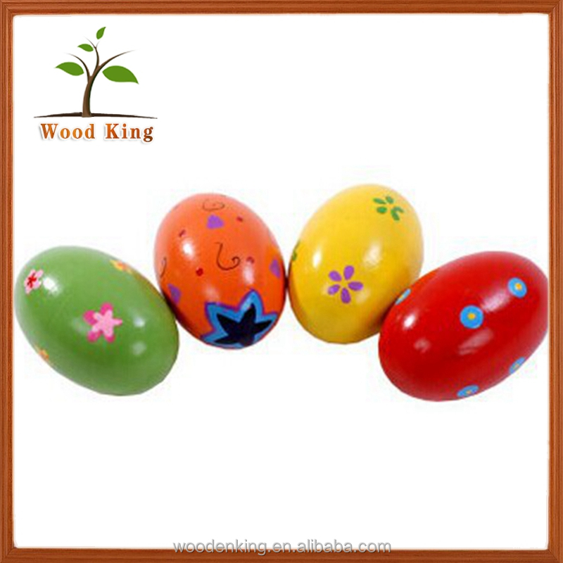 Supply Color Cartoon Wooden Sand Egg Children'S Toys Kids Chicken Surprise Egg Toy Wholesale