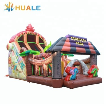 Jurassic park inflatable dry slide theme park slide with obstacle for sale
