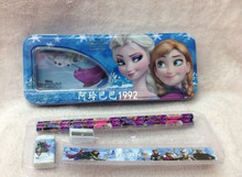 frozen pencil case with 2 pencil 1 ruler 1sharpener wholesale frozen pencil box