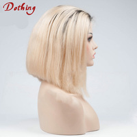No Shedding Short Human Virgin Bob Hair Blonde Color Gluelsss Full Silk Cap Lace Wig Dark Roots 10 Inches