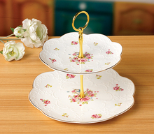 Embossed European Style Two-tier Round Shape Ceramic Plate
