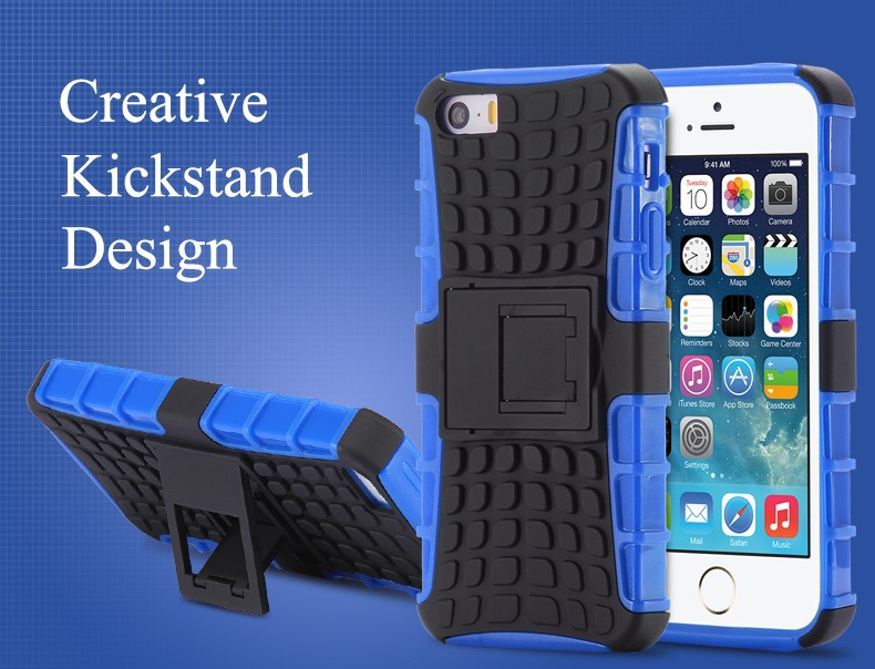 Heavy Duty Armor Kick Hard Plastic Soft Silicon Back Cover Case for iPhone 6 6S Plus Case