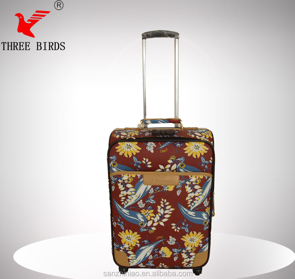 new design flower PU trolley luggage/three birds luggage travel bags trolley bags