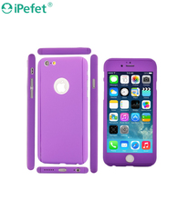 iPefet- 360 Degree All round Protective Slim fit case cover with Tempered Glass Screen Protector Skin for Apple iPhone 6/6S