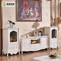 Classical European Style Ivory White Wooden TV Stand