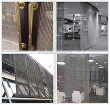 Brass crimped decorative wire mesh for cabinets and stainless wire mesh