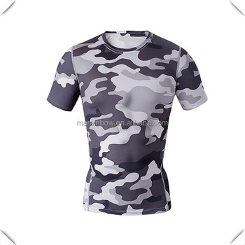 Grey camouflage printed t shirt slim fit gym t shirts for Custom t shirts camouflage