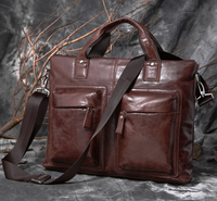 Retro Fashion Camera Briefcase Vintage Two Sided Leather Shoulder Office Bag for Men