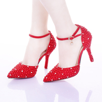 Pointed Toe Wedding Shoes Red Pearl Shoes for Bride Ankle Strap Women Shoes Valentine Party Prom Pumps