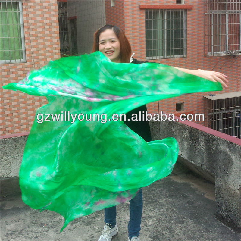 High Quality Tie-dyed Belly Dance Silk Veils, Real Silk Material, 270*114CM, Hot Tie-dyed Green/Pink/White/Purple Silk Veils