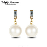T400 top design fashion jewelry imitation big pearl earrings made with Austrian crystal