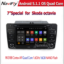 Quad core 1024*600 screen Car GPS navigation Player for Skoda Octavia 2013 with dvd Radio BT wifi Android 5.1.1 1.6Ghz CPU