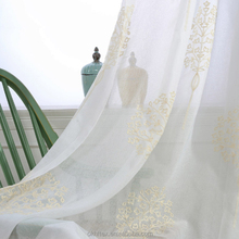 White Fancy Linen Embroidered Voile Sheer Curtains fabric