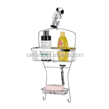 2-TIER high quality CHROME WIRE STORAGE RACK,hanging bathroom iron wire shower caddy