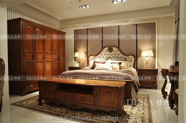 Classic home furniture luxury and elegant wood bedroom furniture