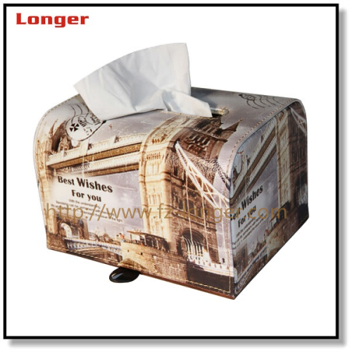 High Quality Luxury Leather Tissue Box For Car/Hotel Printing Napking Box