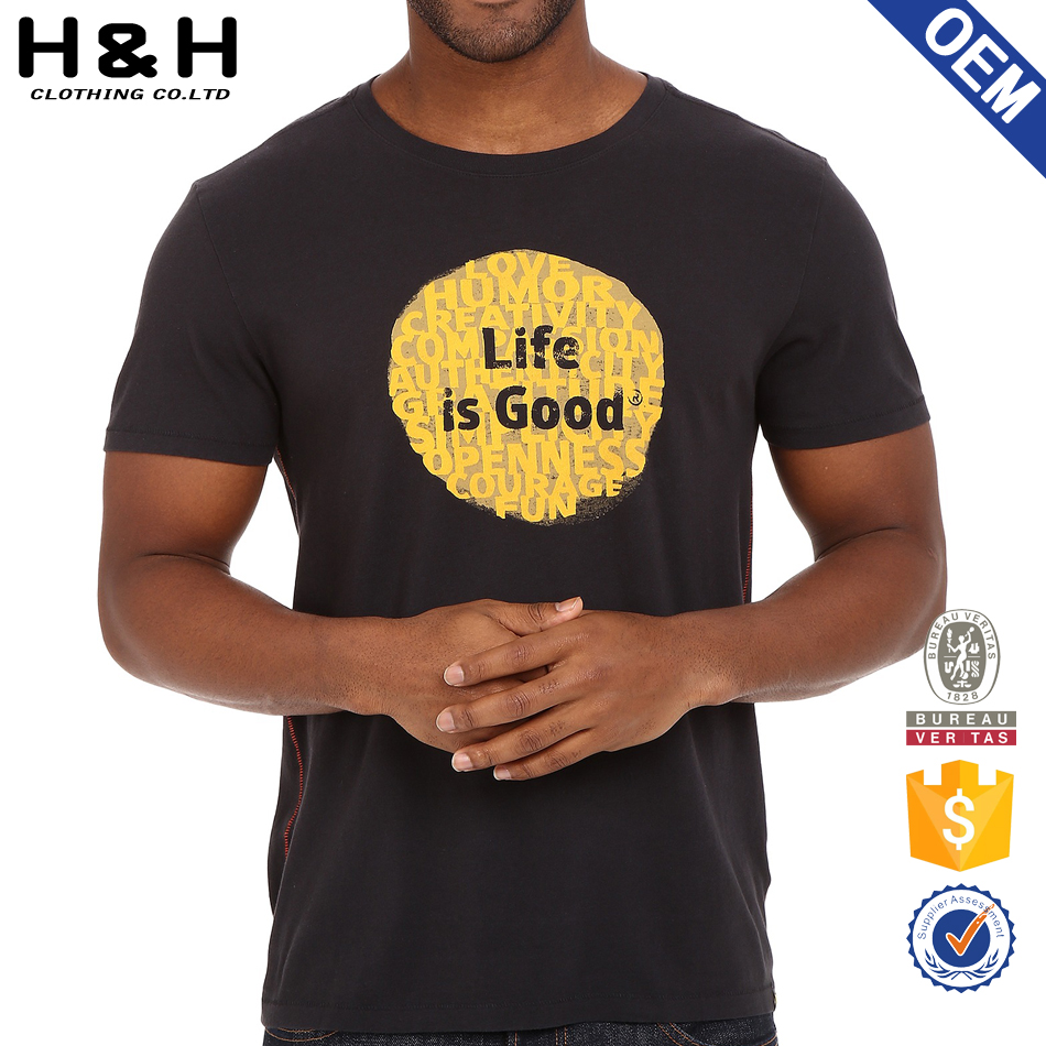 Custom mens simple printed tee shirts for OEM