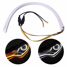 60cm Universial Flowing Daytime Running Light Flexible Soft Tube Guide Car LED Strip White DRL and Yellow Turn Signal Light