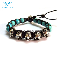 Fashion men's stingray jewelry leather skull rope bead bracelet