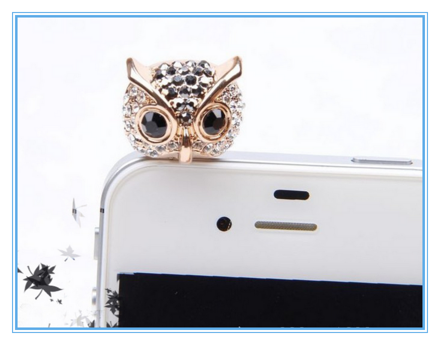 Wholesale cute 3D rhinestone owl shaped animal headphone dust plug