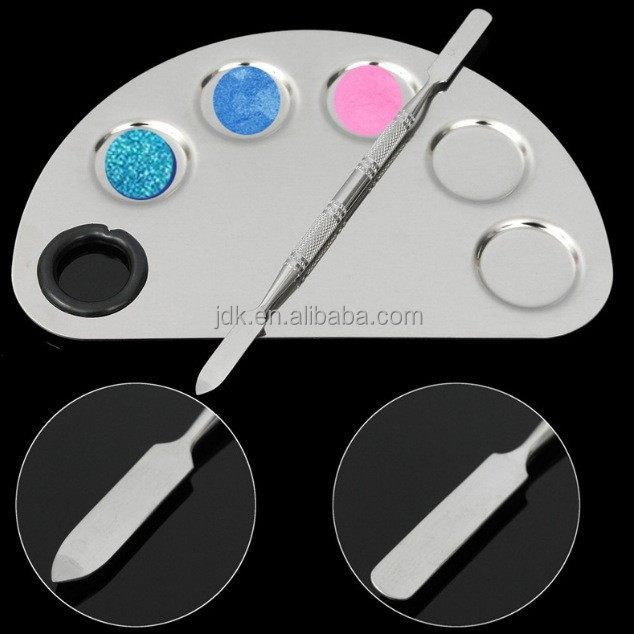 2017 low price cosmetics stainless steel makeup mixing palette with spatula