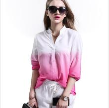 sh20332a European and American women tops deep V neck printing casual blouse