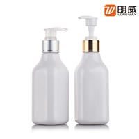 custom plastic opaque cosmetic liquids pet shampoo bottle 200ml 300ml with silver pump packaging