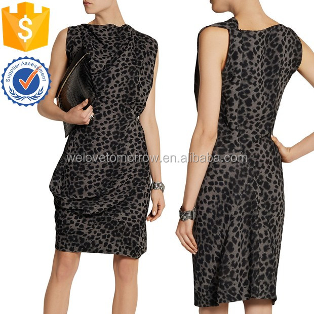 Wholesale women sleeveless short midi women fond leopard-print crepe dress