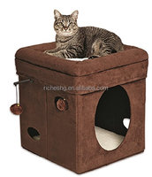 brown suede Pets Curious Cat Cube house for cat