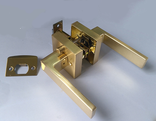 Quick release function, satin brass finished, zinc alloy handle and rosette door handle lock, KY9181BK-SB