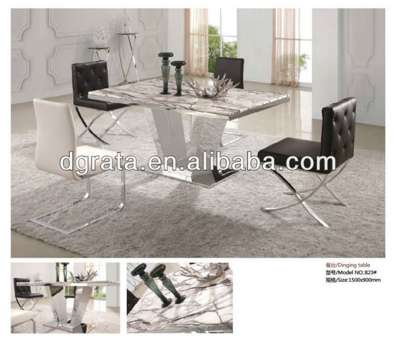 2013 new popular modern dining table sets in stone and chrome to be fininshed for the dining room furniture sets