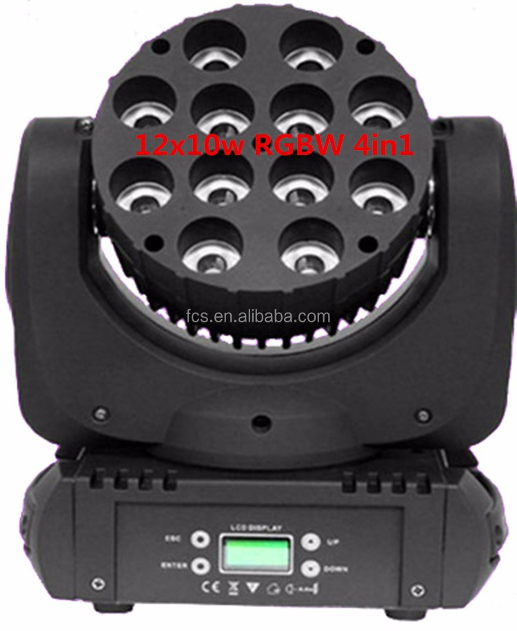 New Design 12x10W RGBW 4IN1 DMX Wireless LED Moving Head Beam