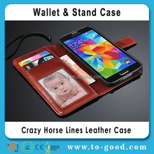 Fashion Luxury Crazy Horse Lines Wallet Mobile Phone Leather Case For Samsung Galaxy S5 I9600