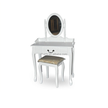 wooden dressing table with stool mirror
