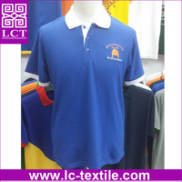 wholesale factory direct cheap custom silk screen print blue white woven collar promotion polo shirt for france market(LCTT0400)
