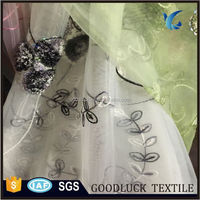 Embroidered Organza Tablecloth Fabric with Squins