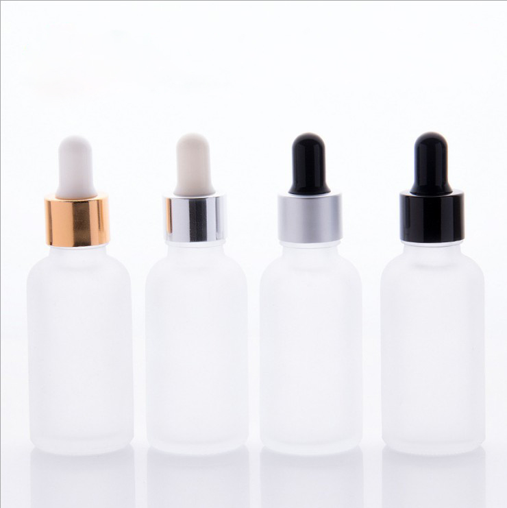 Shanghai linlang FROSTED 30ml Essential oil Glass Bottles <strong>w</strong>/ Metallic Gold Glass Dropper Pipettes 1 Oz