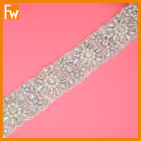 New arrival gorgeous rhinestone pearl crystal beaded flower trimming for wedding dress