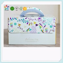 wholesale high quality foldable corrugated cardboard cake box with handle