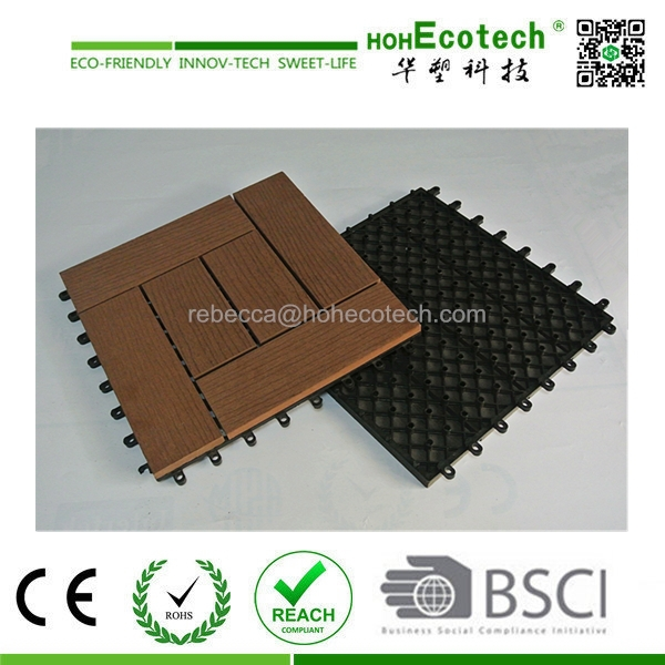 laminated rubber wood cheap anti-slip outdoor tiles decking floor wpc outdoor laminated wood deck tile