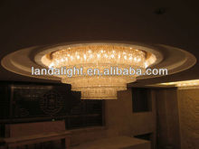 Drop crystal LED Ceiling Lights lamp with surface mounted steel ceiling base for hotel decor