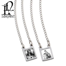 Stainless Steel necklace Square Scapular pendant with Black and White Images of Jesus and Virgin Mary