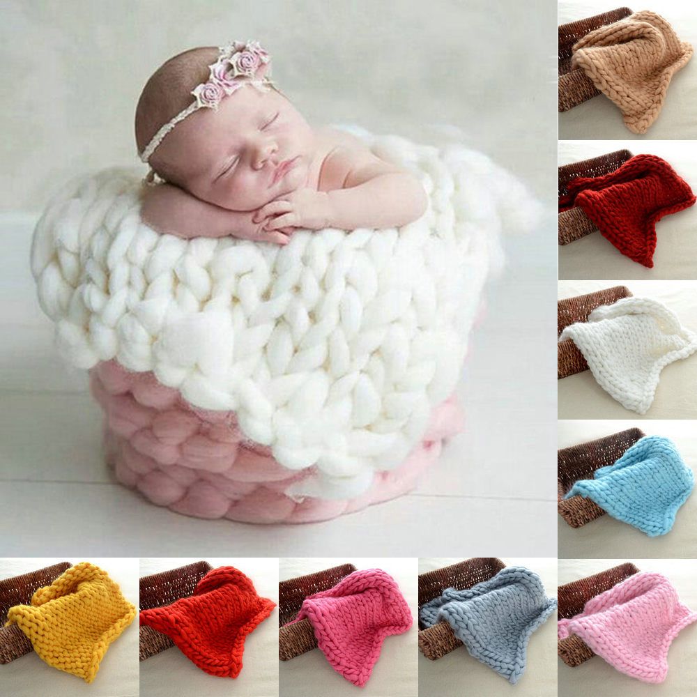 Chunky Knit Baby Wool Blanket Knitted Newborn Photography Prop