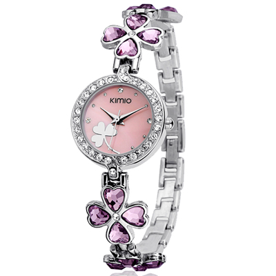 KIMIO Multicolor Clover Design Rhinestone Lady Watch Stainless Steel Japanese Movement Female Table