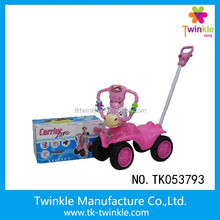 Lovely cartoon free wheel musical baby stroller with light baby car