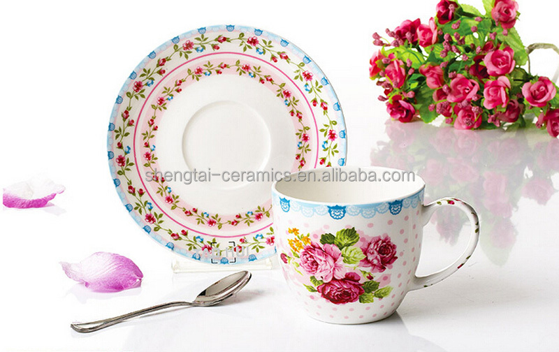 Wholesale custom high quality cheap beautiful design ceramic bone china coffee cup and saucer set