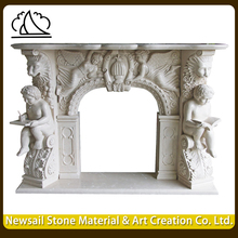 European Style Home Used Decorate Corner White Marble Fireplace