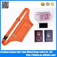 High quality rfid security passport slim travel waist money belt waist pouch