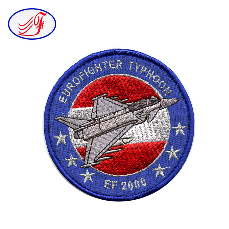 Latest Computer Embroidery Designs Eurofighter Typhoon Clothing Patch Wholesale Cheap Custom Self-adhesive Embroidery
