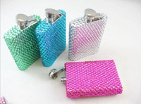 45 colors Mix wholesale Fashion 100% handmade crystal flask cute hip flask